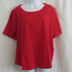 CJ Banks red blouse size X - crepe textured rayon